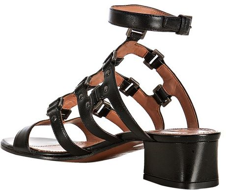 Ala 239 A Black Studded Leather T Strap Block Heel Sandals In