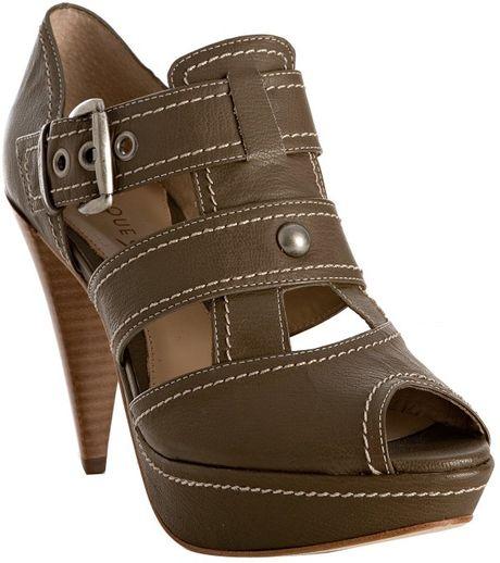 Boutique 9 Taupe Leather Hazeline Platform Sandals In