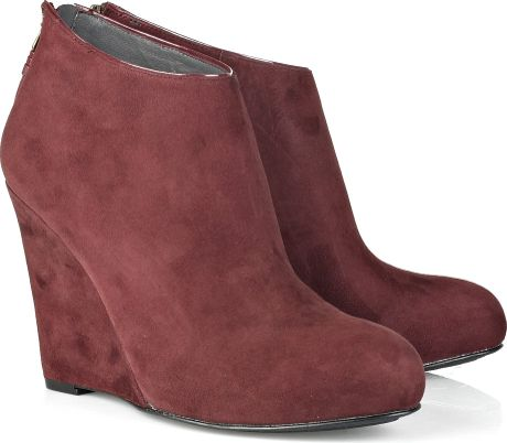 dkny aura wedge suede ankle boots in purple burgundy lyst