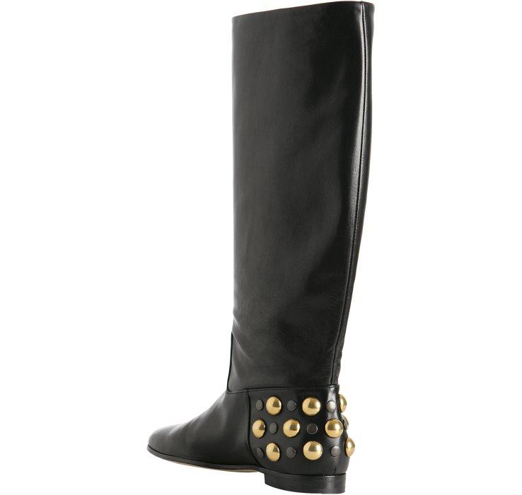 0b11f7411 Lyst - Gucci Black Leather Babouska Studded Flat Boots in Black