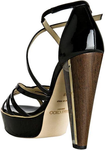 Jimmy Choo Black Patent Leather Zena Platform Sandals In