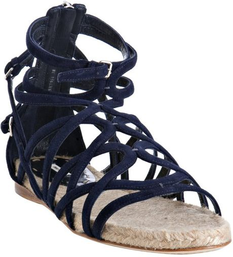 Miu Miu Navy Strappy Suede Flat Sandals in Blue (navy) | Lyst