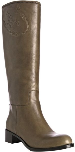 prada bamboo leather embossed logo flat boots in brown lyst