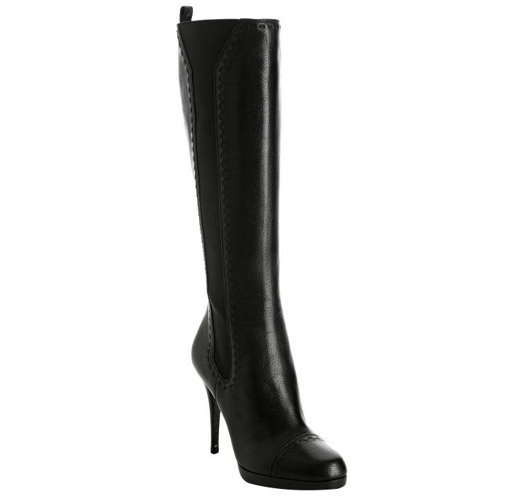 laurent black leather hyde stretch boots in