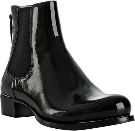miu miu black patent leather chelsea boots in black lyst