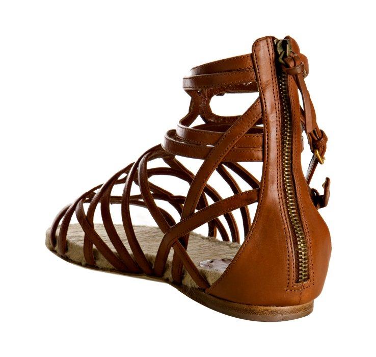 Lyst Miu Miu Brown Strappy Leather Flat Gladiator