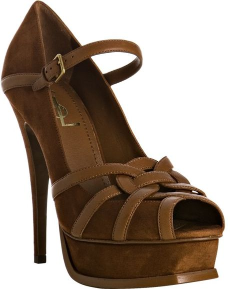 Saint Laurent Tribute Suede Sandals In Brown Cognac Lyst