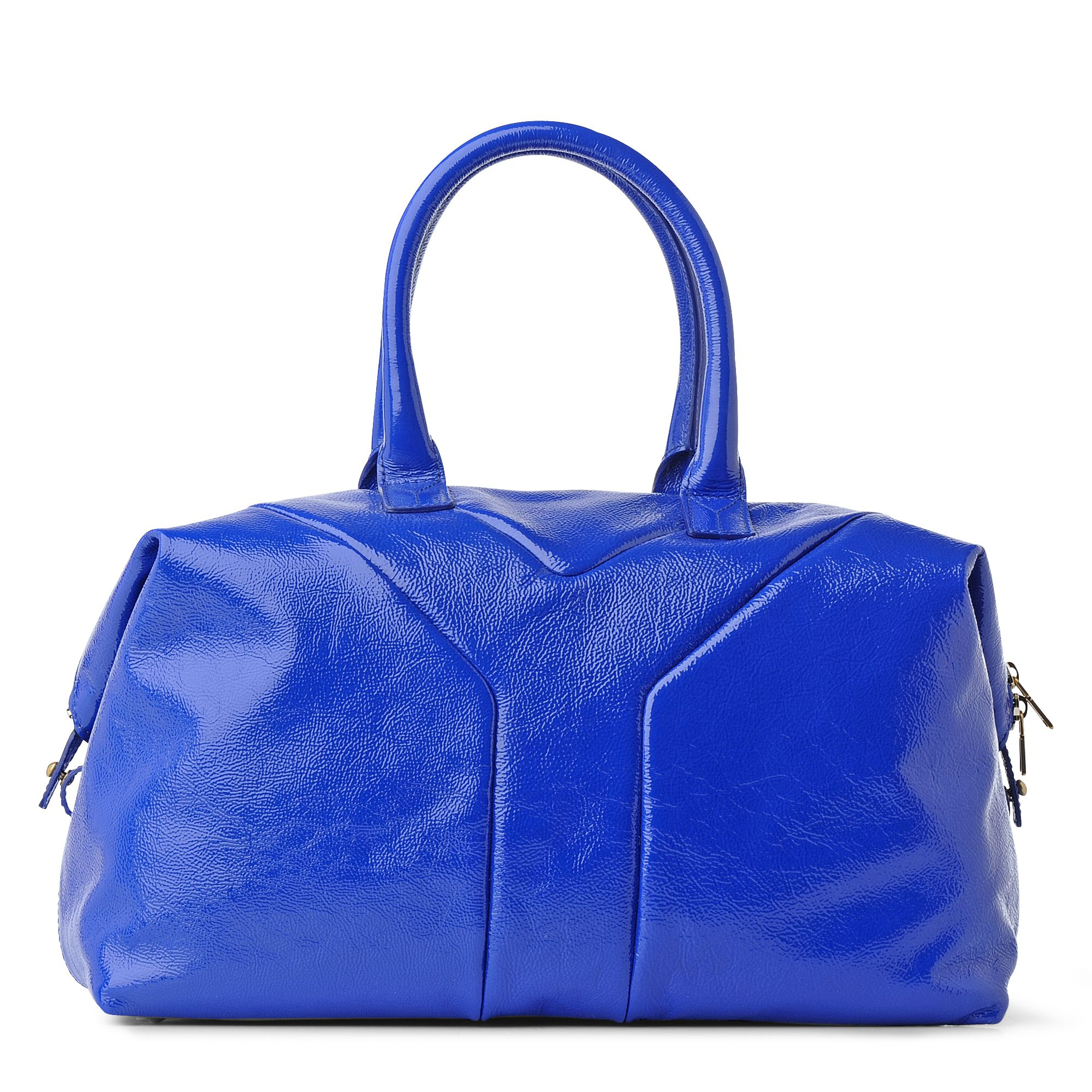 Saint laurent Easy Medium Patent Tote in Blue | Lyst