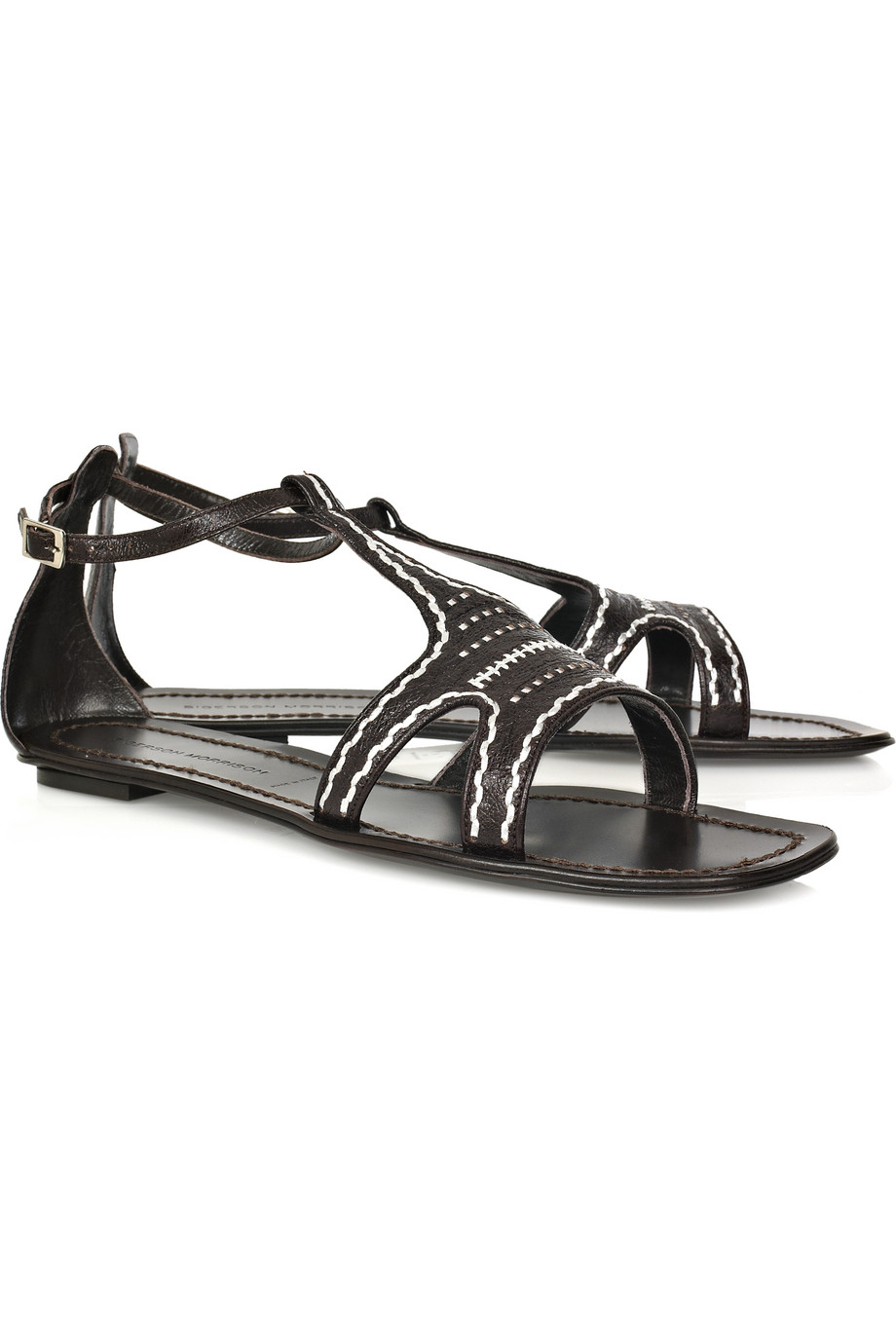 sigerson morrison flat leather t bar sandals in brown lyst