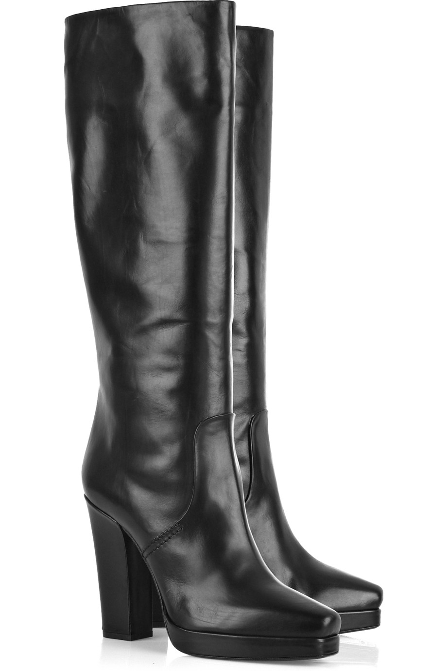 calvin klein lynsey polished leather boots in black lyst