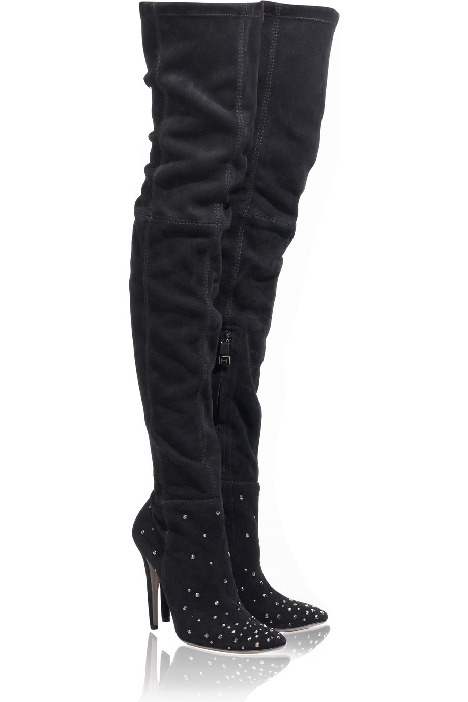 Halston City Thigh-high Studded Boots in Black | Lyst