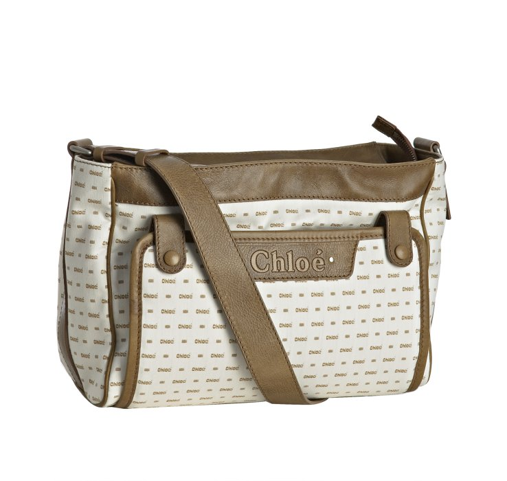 chlo brown logo print canvas diaper bag with changing pad in white lyst. Black Bedroom Furniture Sets. Home Design Ideas