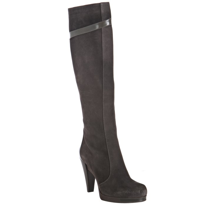 Fendi Brown Suede Leather Detail Tall Boots In Brown Lyst