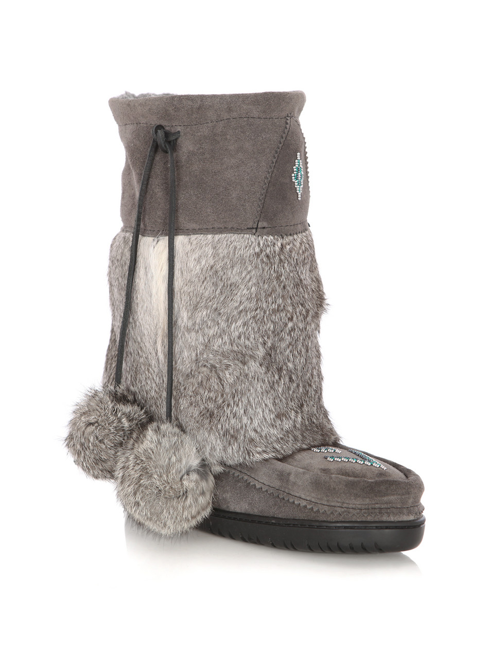 4040bac1972d Manitobah mukluks Suede and Rabbit Fur Boots in Gray (grey .
