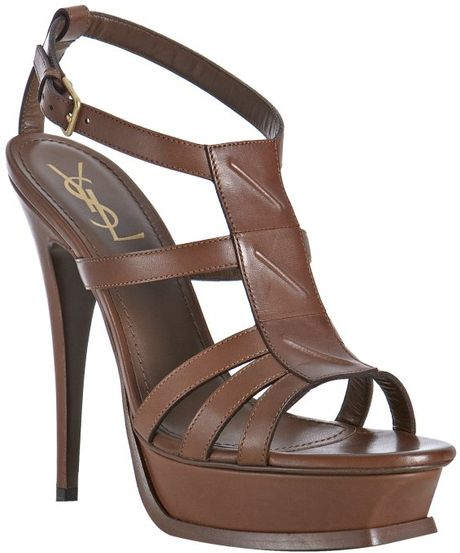 Saint Laurent Chocolate Leather New Riveg Platform Sandals in Brown (chocolate)
