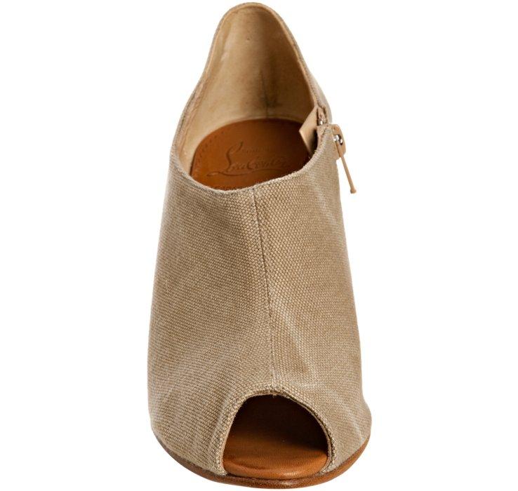 christian louboutin wedge knee-high boots Black canvas jute heels ...