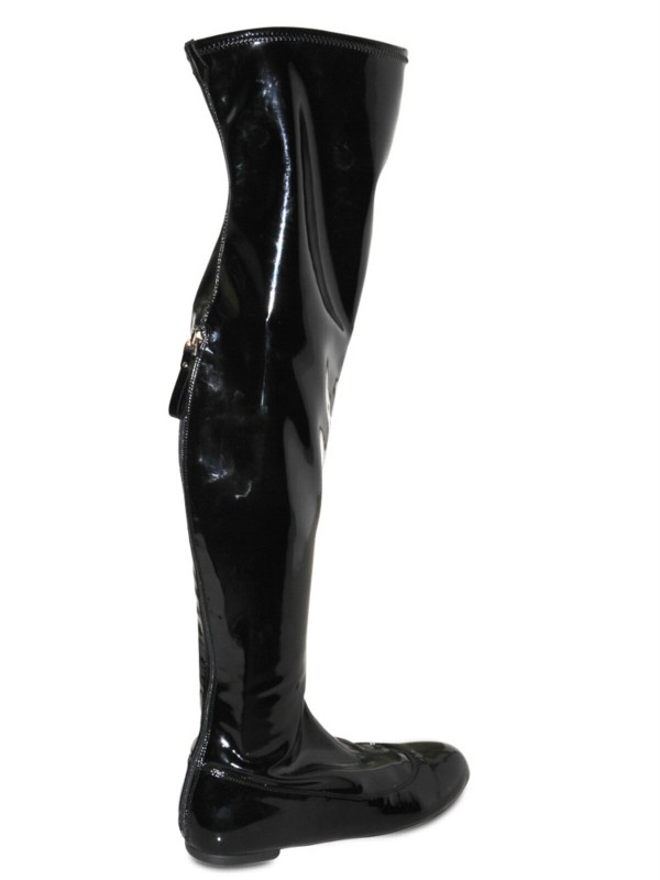 Lyst Sergio Rossi Latex Cuissard Back Zip Boots In Black