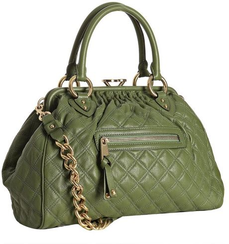 Marc Jacobs Olive Quilted Leather Stam Handbag in Green (olive)