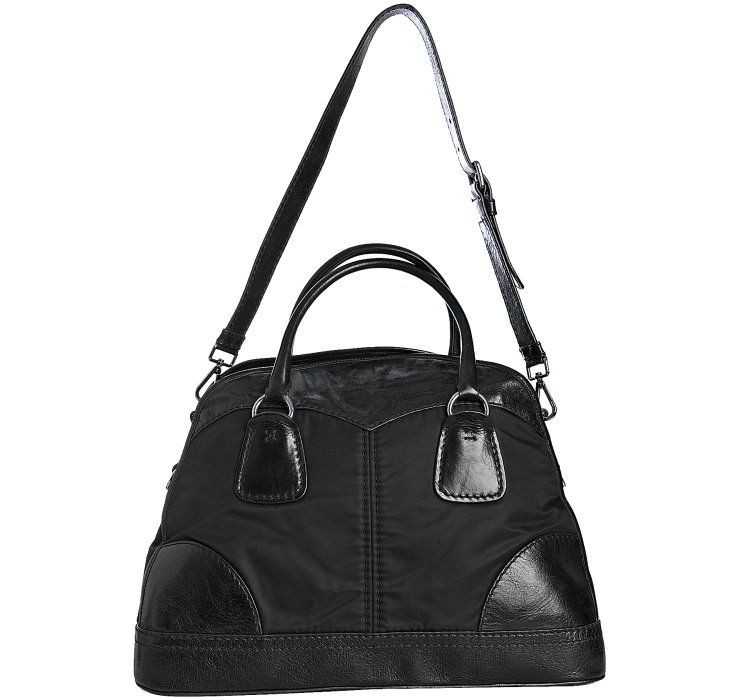 Prada Black Nylon and Lambskin Bauletto Bowling Bag in Black | Lyst