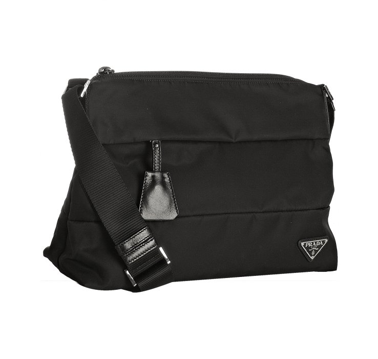 saffiano vernice prada - Prada Black Nylon Banded Shoulder Bag �C Shoulder Travel Bag