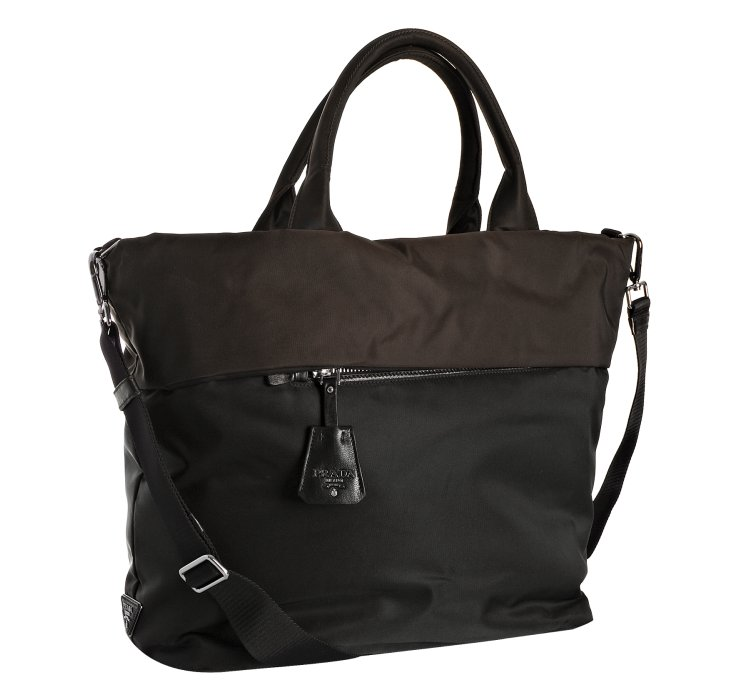 Lyst Prada Black Nylon Color Block Tote Shoulder Bag In
