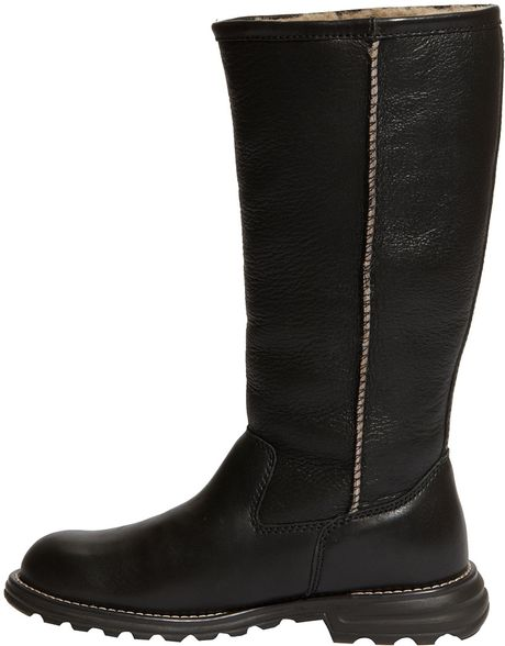 ugg boot in black black leather lyst