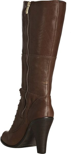 vince camuto teddy brown leather claras lace up tall boots