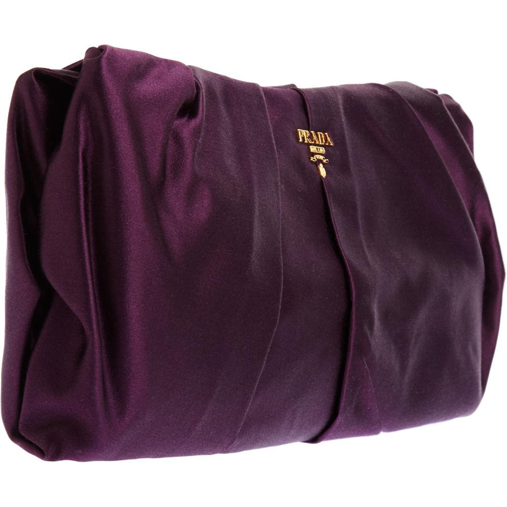Prada Raso Gathered Clutch in Purple (prune) | Lyst