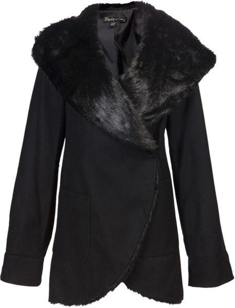 Elizabeth And James Faux Fur Overcoat in Black - Lyst