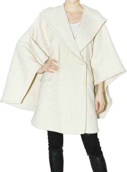 Givenchy Hooded Double Cloth Cape Coat in White
