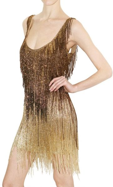 Roberto Cavalli Beaded Fringe Dress In Gold Bronze Lyst