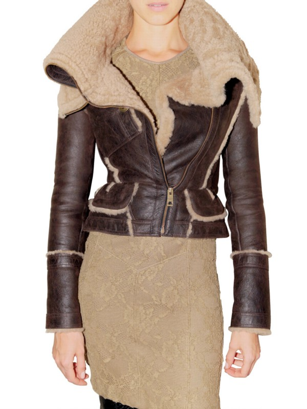 2e80e7b81b8 Lyst - Burberry Prorsum Shearling Leather Jacket in Brown