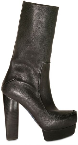 costume national 140mm square toe leather boots in black