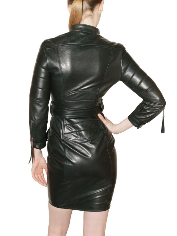 Lyst Dsquared 178 Leather Biker Dress In Black