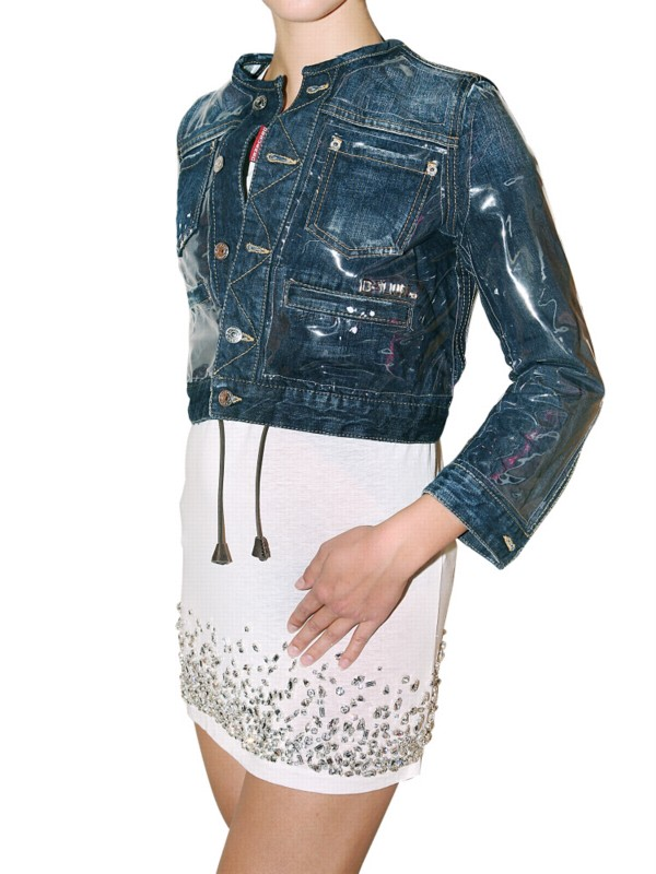 Lyst Dsquared 178 Pvc And Denim Jacket In Blue