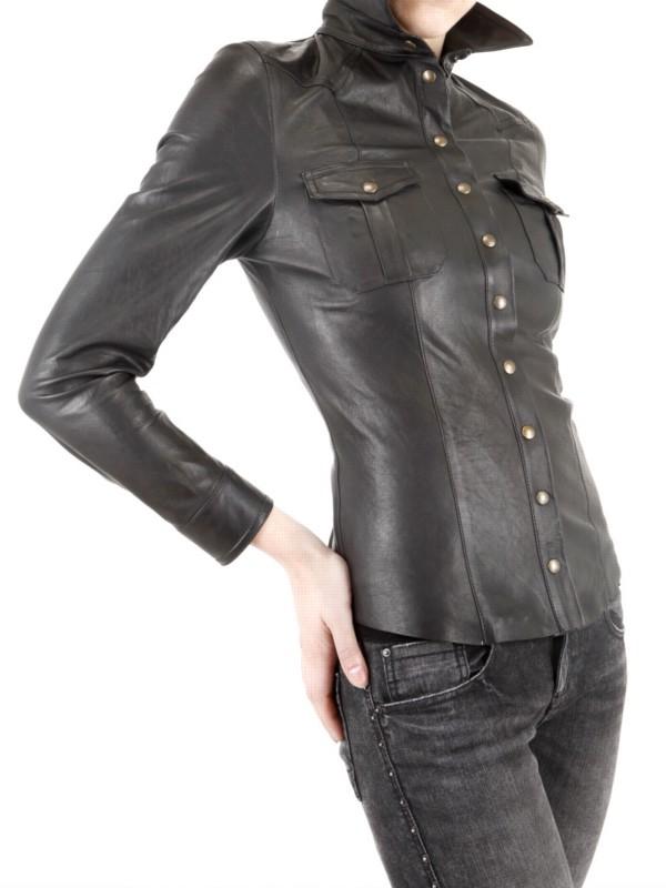 Lyst Les Soeurs Leather Shirt In Black