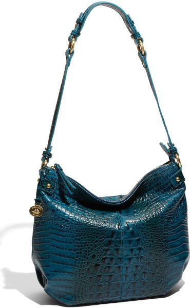 Brahmin Donna Slouchy Shoulder Bag in Blue (azure croc)