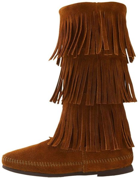 minnetonka 3 layer fringe boot in brown brown suede lyst