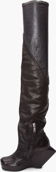 rick owens thigh high spike wedge boots in black lyst