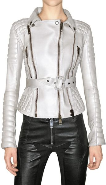 Burberry Prorsum Quilted Biker Leather Jacket in White (ivory) | Lyst