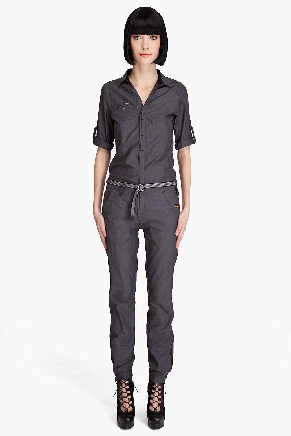 g star raw flight deck jumpsuit in gray petrol lyst. Black Bedroom Furniture Sets. Home Design Ideas
