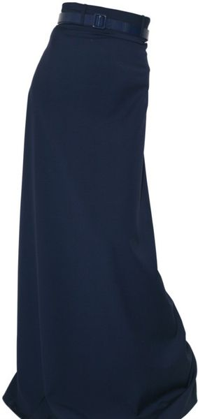 richard nicoll maxi a line wool suiting skirt in blue