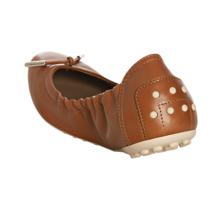 64bd87580f9 Tod S Cognac Leather Dee Ballerina Flats in Brown - Lyst