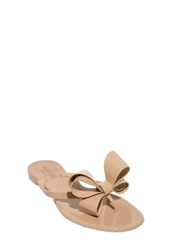 Valentino Jelly Bow Flip Flop Flats In Beige Nude  Lyst-7389