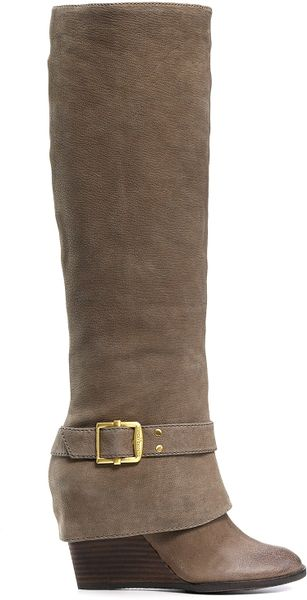 vince camuto alician wedge boots in brown taupe brown
