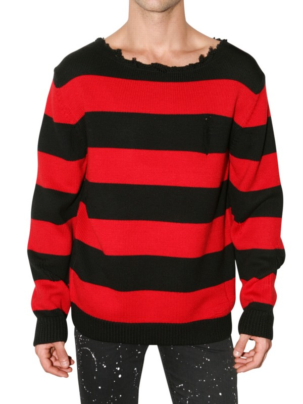 Lyst Dead Meat Cobain Distressed Collar Wool Sweater In