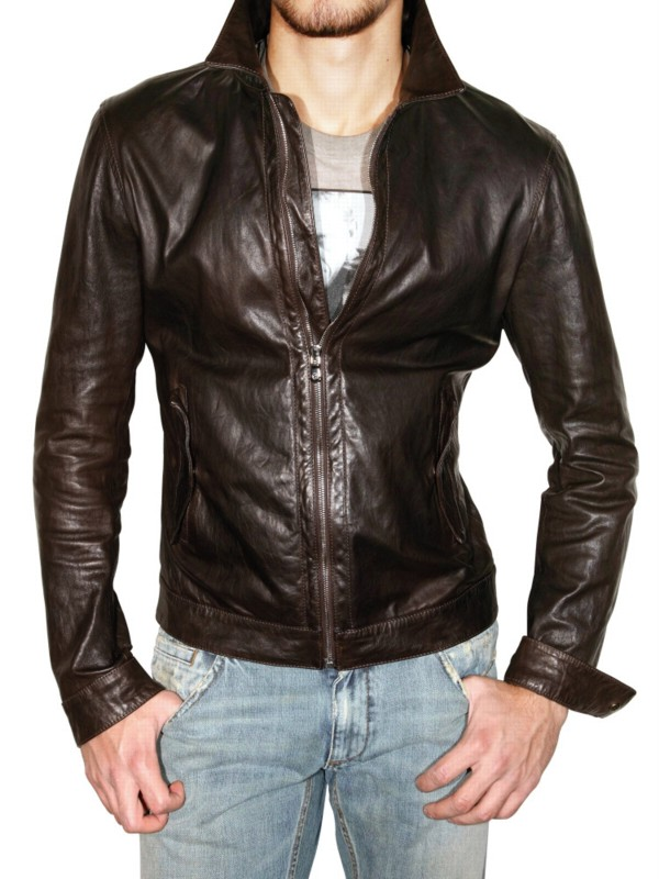Dolce & gabbana Washed Light Nappa Leather Jacket in Brown for Men ...