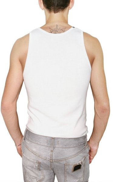 Dolce Amp Gabbana Micro Ribbed Cotton Tank Top In White For