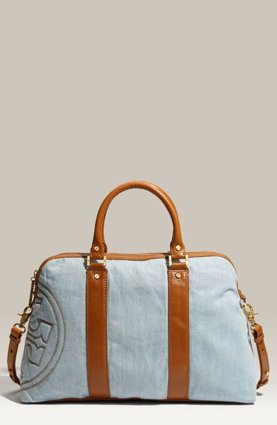 Tory Burch Denim Delaney Satchel in Blue (light denim/ royal tan)