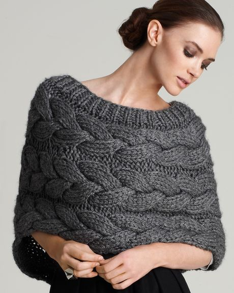 Knitting Pattern For Bolero Shrug : Adam Cable-knit Shrug in Gray (Heather Grey) Lyst